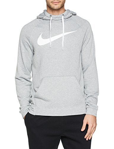 Nike Herren Dry Training Swoosh Hoodie, Dark Grey Heather/White, M