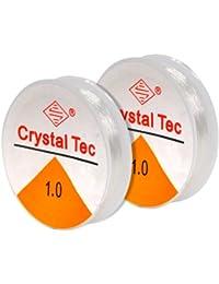 TRIXES 2 bobines de 8m de fil extensible élastique transparent de 1mm pour fabrication de bijoux en perles