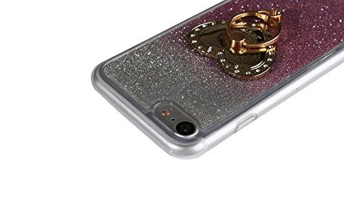 """Etsue Glitter Silikon Schutzhülle für iPhone 7 4.7"""" 2016 TPU Case mit Metall Ring Ständer, Bling Glitter TPU Bumper Case Sparkles Glänzend Glitzer Silikon Crystal Case Soft Rückseite Cover Shinning Ba Gradient mit Ständer,Rosa"""