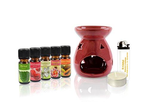 * 8-teiliges Duft-Set | Duftlampe + 5 Duftöle + Teelicht + Feuerzeug | 3 Farben zur Wahl: Blau, Weiß, Rot (Rot) -