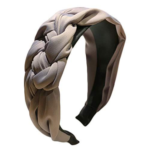 chenpaif Minimalist Imitation Silk Solid Color Headband Side Handmade Twist Braiding Women Wide Hair Hoop Pleated Hair Styling Accessory Gray