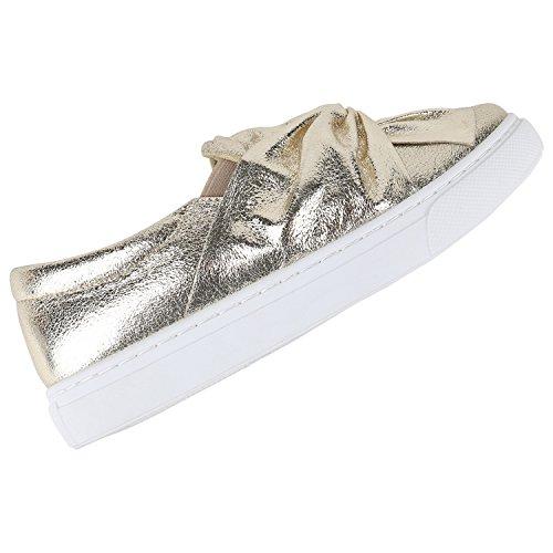 Damen Sneakers Slipper Slip-ons Metallic Kroko Gold Silber New Look Gold Schleife