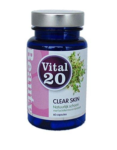 CLEAR SKIN | natürlicher Schutz für die Haut gegen Akne | optimal dosiert mit Laktoferrin und Leinsaat | versorgt die Haut und vermindert Entzündungen | 60 Kapseln, 30 Tage Dosis (Leinsamen Wesentliche)