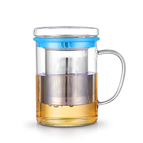 Qileyin Qly024 Mug à thé en verre avec couvercle et Infuseur en acier inoxydable 3 couleurs disponibles – Parfait Tasse à thé pour bureau et Home utilise pour feuilles de thé Infuser du Vrac – 400 ml (385,6 gram), verre, bleu ciel, 400 ml