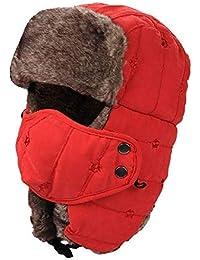 Qiusa Cappello da Trapper invernale caldo unisex Imbottitura in pelliccia  antivento Maschera trooper Cappellino in cotone 7da6f9f37955