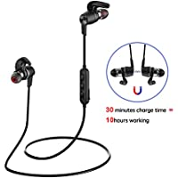 Bluetooth Earphone, Wireless Earbuds Magnetic Stereo Earbuds 30 Minutes Fast Charge 10 Hours Working for Sports Running Yoga (Black)