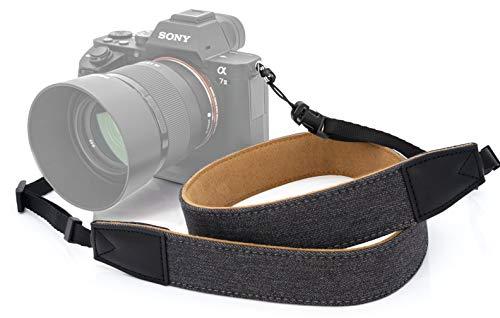 MyGadget Tracolla Universale per Macchina Fotografica Cinghia Regolabile Tessuto e Pelle Sintetica per Fotocamere Reflex Mirrorless Sony Nikon Canon