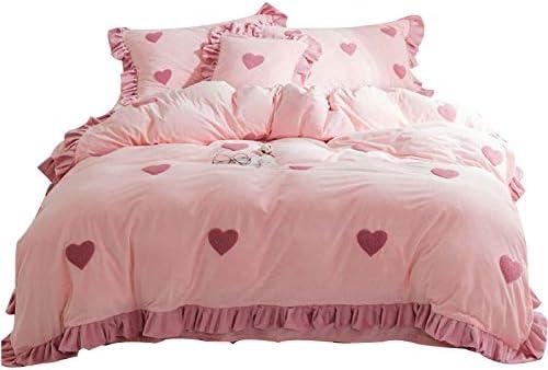 YMXJLXH Biancheria da rosa Letto Lenzuola in Cotone di Velluto di Cristallo rosa da Quattro Set di Trapunta Invernale in Pile Doppio Corallo f612ed