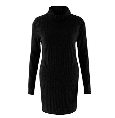 NiSeng Femmes Robe Pull Manches Longues Casual Manteau Chandails Pull à Col Roulé Robe Tricot Longue Noir L