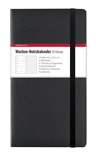 Weekly Agenda 18 Months, 2017/2018, Hard Cover, Black, 13 x 21 cm
