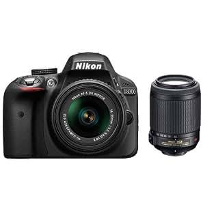 Nikon D3300 Appareil photo numérique Reflex 24,2 Mpix Kit Objectifs AF-S 18-55 mm VR II + 55-200 mm Noir