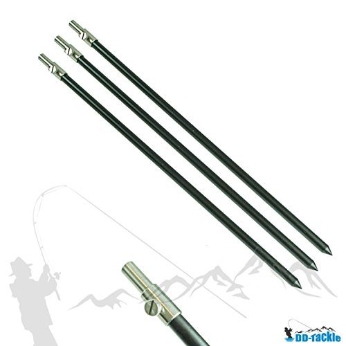 3 Stück Set Alu Bank Stick 50 - 90cm Bankstick Ruten Halter Ständer Rutenauflage Rod Pod Aluminium Rutenhalter Rutenständer Rod Pod tele teleskop -
