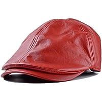 Sombrero,Xinantime PU Cuero Gorra Boina Sombreros Hombres Mujeres (Rojo)