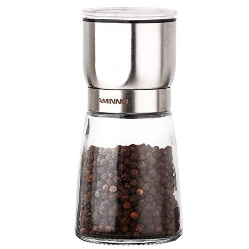Aminno grinder per sale e pepe, macina per peperoni in acciaio inossidabile spazzolato e macina per sale con macinatura in ceramica a grana grossa regolabile