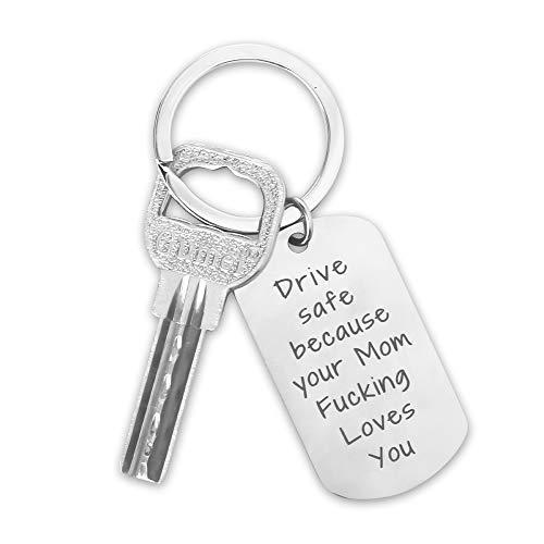 Schlüsselanhänger mit Gravur, Hospaop Schlüsselbund Liebe Anhänger aus, schlüsselanhänger fahr vorsichtig Metall in Titan Stahl, Glücksbringer Geschenk für Auto führerschein bestanden Geschenk