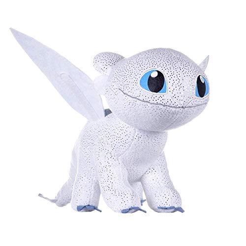 """HTTYD Dragons, como Entrenar a tu dragón - Peluche Furia Luminosa (Light Fury) Color Blanco con Brillante Calidad Super Soft 11'80""""/30cm (40cm Cola incluida) - 760017685"""