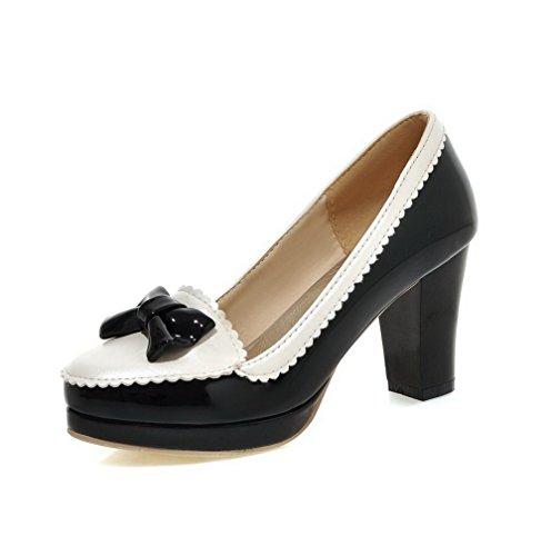 AllhqFashion Damen Ziehen Auf Hoher Absatz Pu Leder Gemischte Farbe Rund Zehe Pumps Schuhe Schwarz