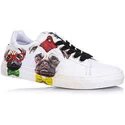 BE KOOL - Zapato blanco Pug&pug Down de cordones de cuero, inspirado en el mundo del arte de la calle, Niño, Niños-39