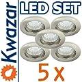 SUPER SET 5er: K-13 Einbaustrahler + LED Lampe 20p /20W + GU10 Fassung 230V