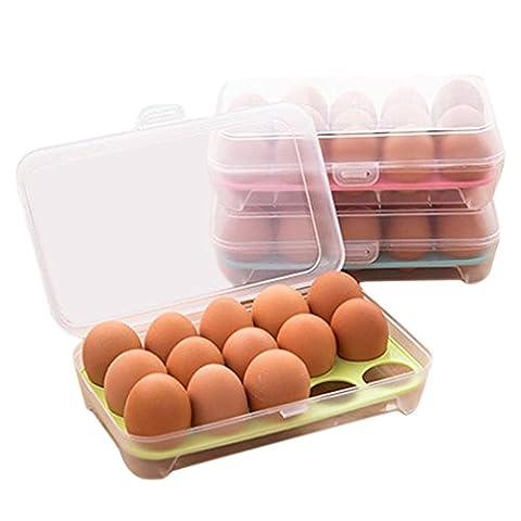 Boîte de rangement d'oeufs WODDU 15 Casiers Transparente Réfrigérateur Étanche (Vert)