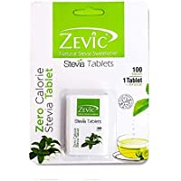 Zevic Natural Stevia Sweetener Tablets | Zero Calorie Stevia Tablet | Healthy Substitute for Sugar | 100 Tablets - Pack…