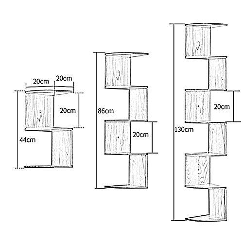 AGWa Schwimmende Regale Ecke Woody Hanging Wall Bücherregal für Fotoalben Buch Display, 3/5/7 Ebenen, 2 Farben,A,130cm -