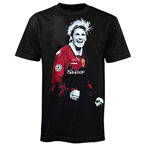 T-Shirt Fußball-Legende David Beckham bei Manchester United 1999 - Retro-Design - Schwarz - M