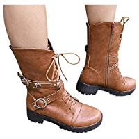 Vintage Roman Boots Lace Up Buckle Winter Casual Boots Womens Snow Boots Slip On Women