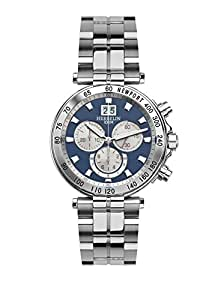 Michel Herbelin Newport Yacht Club Men's Quartz Watch with Blue Dial Chronograph Display and Silver Stainless Steel Bracelet 36695/B15