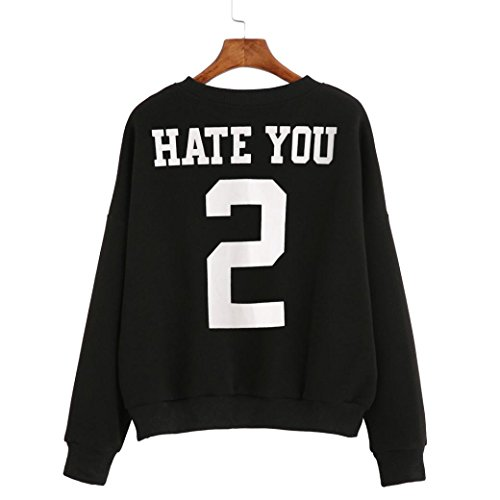 Tonsee Femmes manches longues Blouse-Hate you 2-impression Sweatshirt pulls Noir