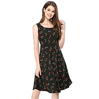 Allegra K Women's 1950s Sleeveless Swing Cherry Print Midi Flare Vintage Dress Black S (UK 8)