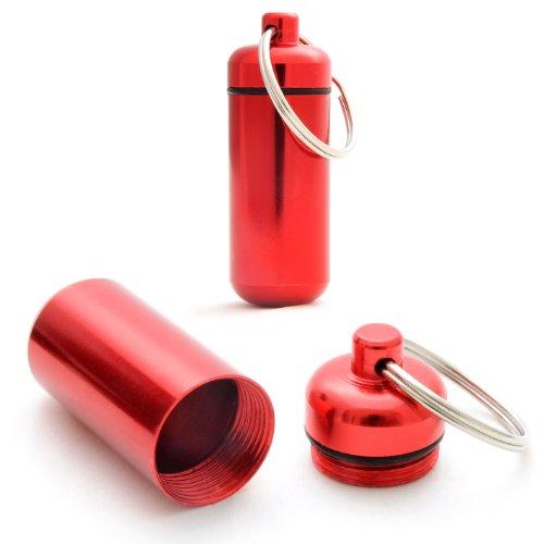 Capsule étanche pour conserver des petits objets (billets, clés usb), pilulier, capsule en porte-clé avec un capuchon dévissable et un joint en caoutchouc, hauteur: 45mm, matériau: aluminium, couleur: rouge, de la marque Ganzoo – lot de 2 capsules