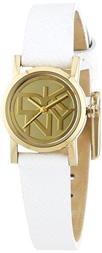 DKNY NY2150 – Reloj para mujeres, correa de cuero color blanco