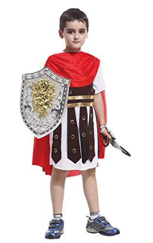 Cloud Kids Kinderkostüme Jungen Römischer Soldat Kostüm Halloween Karneval Cosplay (Körpergröße 110-120cm, Rot)