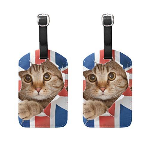 Hunde 2-stück Gepäck-set (Kofferanhänger für Gepäck Koffer 2 STÜCKE Nette Katze Mit Flagge Leder Reisetasche Adressetiketten)