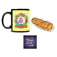 """YaYa Cafeâ""""¢ Holi Sweets Gift Gujia Combo Holi Masti Begins Mug, Coaster, Kesar Gujiya - 500 gm"""