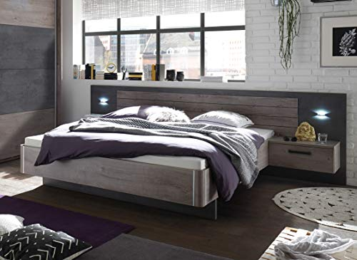 deine-tante-emma 22-510-N9 Palma Havel Eiche NB. / Betonoxid Grau Bett Doppelbett Ehebett Bettanlage inkl. 2 Nachtkommode ca. 180 x 200 cm Liegefläche