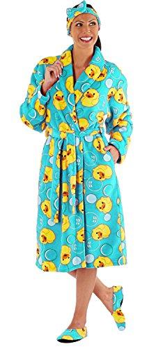 Damen Gepackter Bademantel Onesie Schlafanzug + Hausschuhen + Stirnband - Gift Set! (Blau) s/m (Hausschuhe Nachthemd)
