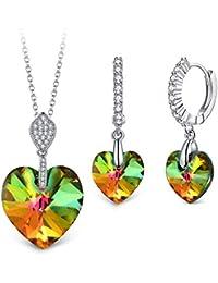 """T400 Jewelers """"Mi Destino Collar con Colgante de corazón y Pendientes de leverback de Swarovski Elements Cristales Conjuntos de joyería de Moda para Mujer,45+5cm"""