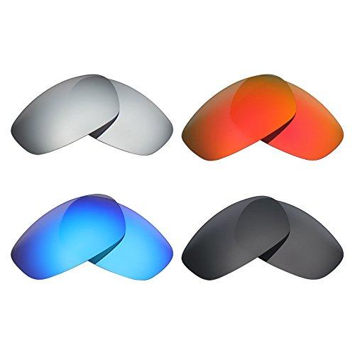 MRY 4Paar Polarisierte Ersatz Gläser für Oakley Split Jacke Sunglasses-Stealth schwarz/fire rot/Ice blau/Silber Titan