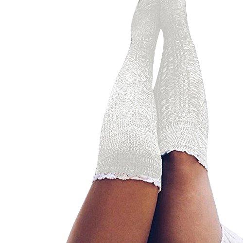 FIRSS Frauen Spitze Blume Kniestrümpfe   Doppelfarbig Socken   Strick Sportsocken   Knitting Hohesocken   Casual Lose Elastisch ()