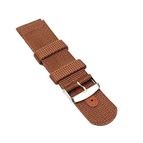 Weixinbuy Herren Sport Nylon Armbanduhr Band Ersatz Uhrenarmband Band Brown 20mm