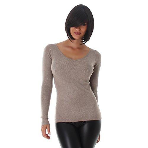 VOYELLES Damen Pullover mit langen Ärmel und einem eleganten V-Ausschnitt, in vielen Farben erhältlich, Größe 34-38 Hellbraun