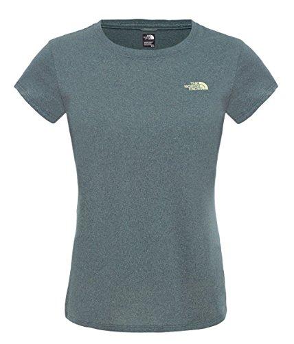 North Face W Reaxion Amp Crew-Maglietta da donna Eu, Donna, T-Shirt W Reaxion Amp Crew Eu, Spruce Green Heather, S