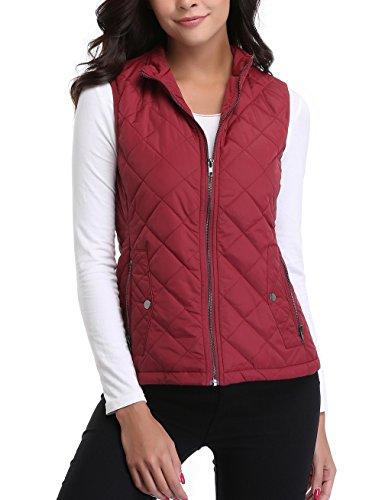 MISS MOLY Damen Steppweste Steppjacke Outdoorweste Taillierte Weste Rot - XL