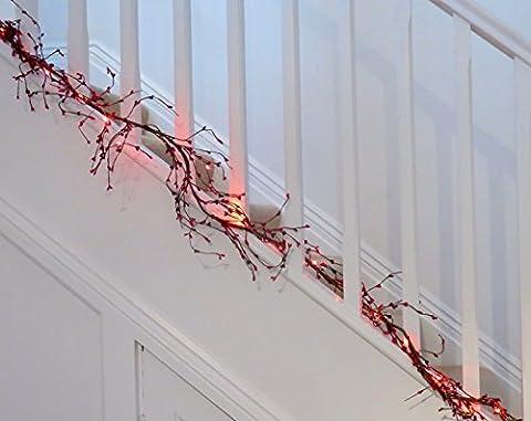 Rot Perlen PIP Berry Hochzeit Girlande. An. 20Gratis rot Akku LED Micro Lights. 3gratis AA Batterien. 1,8m (Fast 6ft) in Länge.