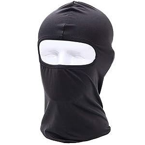 Fliyeong Einstellbare Reithaube Winterwinddichte Maske Reitkopfbedeckung für Ski/Motorrad/Wandern Schwarz