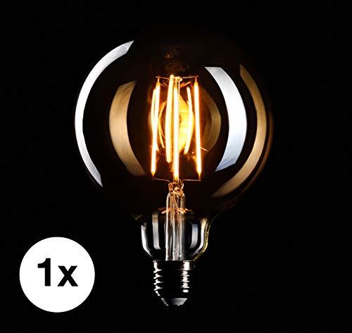 CROWN LED Edison Glühbirne E27 Fassung, Dimmbar, 4W, Warmweiß, 230V, MasterGlobe, Big-Globe, EL05, Antike Filament Beleuchtung im Retro Vintage Look