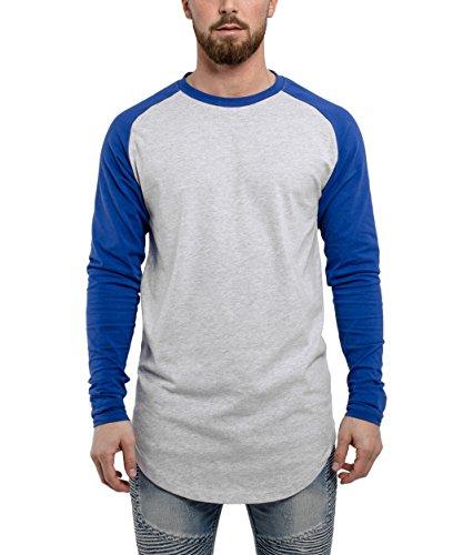Phoenix Oversize Baseball Longsleeve Long T-Shirt Herren Longshirt Grau Blau Rot Schwarz Grün - S M L XL Aschgrau-Blau
