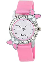 522fba23f6a DAINTY Analogue White Dial Pink Diamond Studded Butterfly Girl s Watch